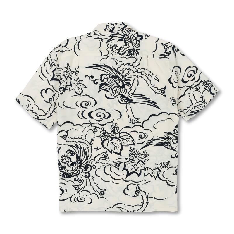 和柄アロハシャツ_白色2