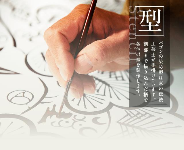 パゴンとは 型 パゴンの染め型は京の伝統工芸士が手掛けています。細部まで描き込んだ柄で各色の型を製作します。