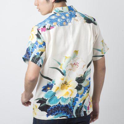 アロハシャツ 花と孔雀