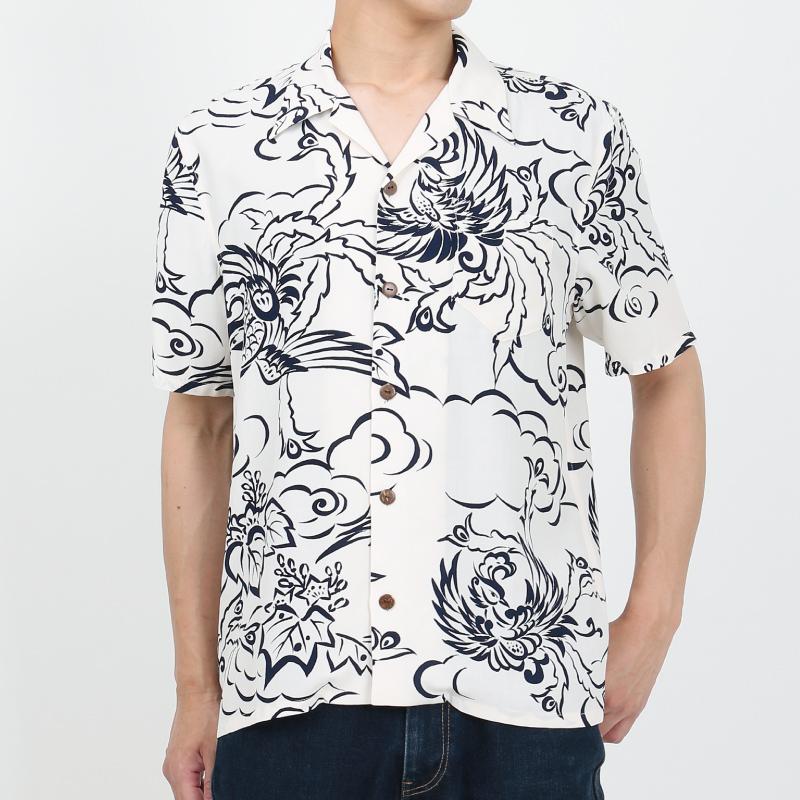 和柄アロハシャツ_白色