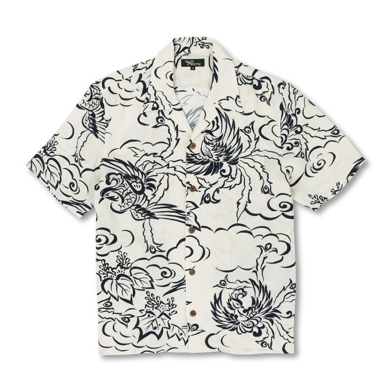 和柄アロハシャツ_白色1