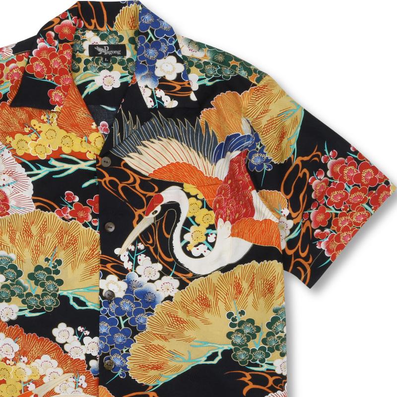 着物アロハシャツ 百年の鶴