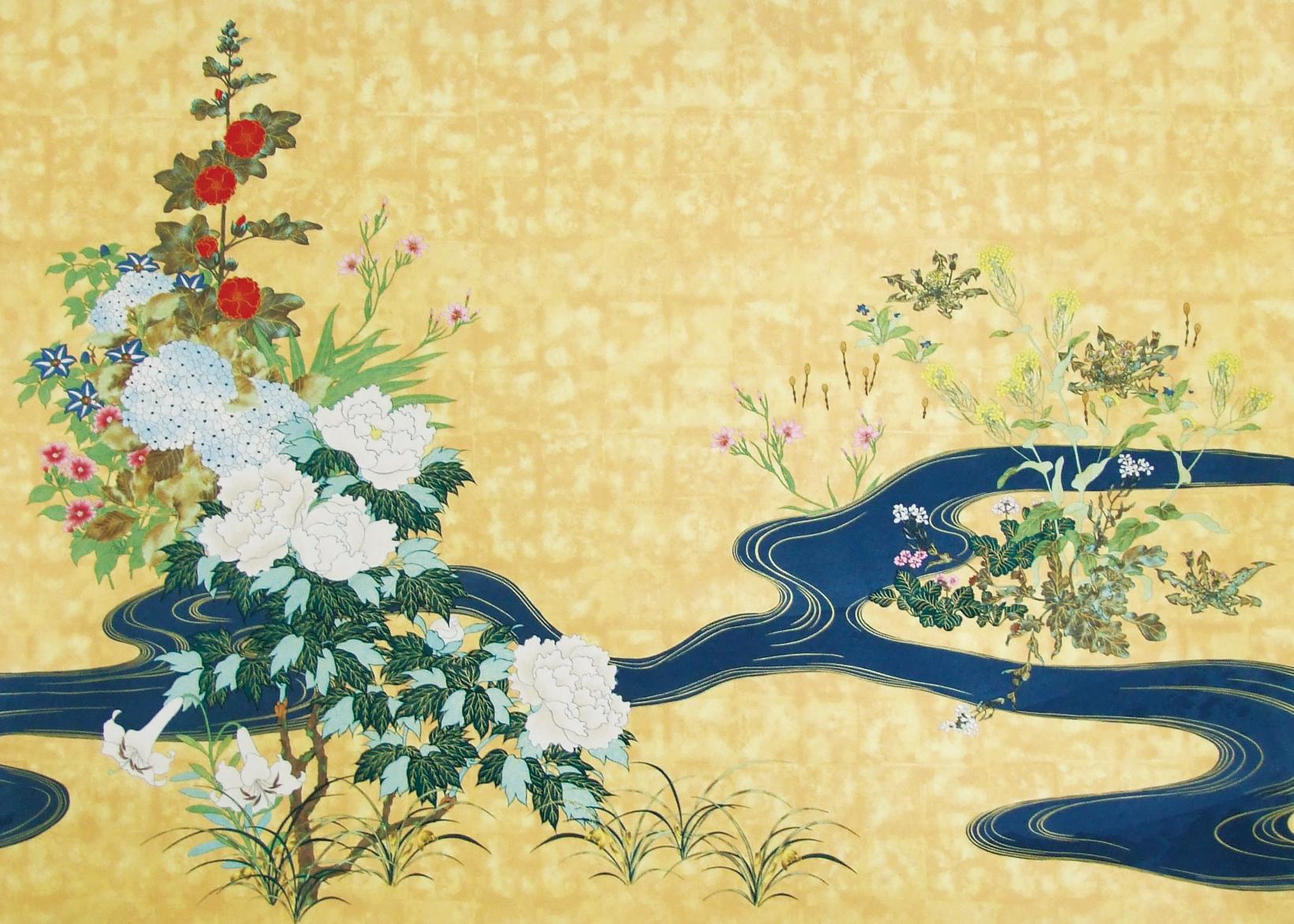 流水四季草花図