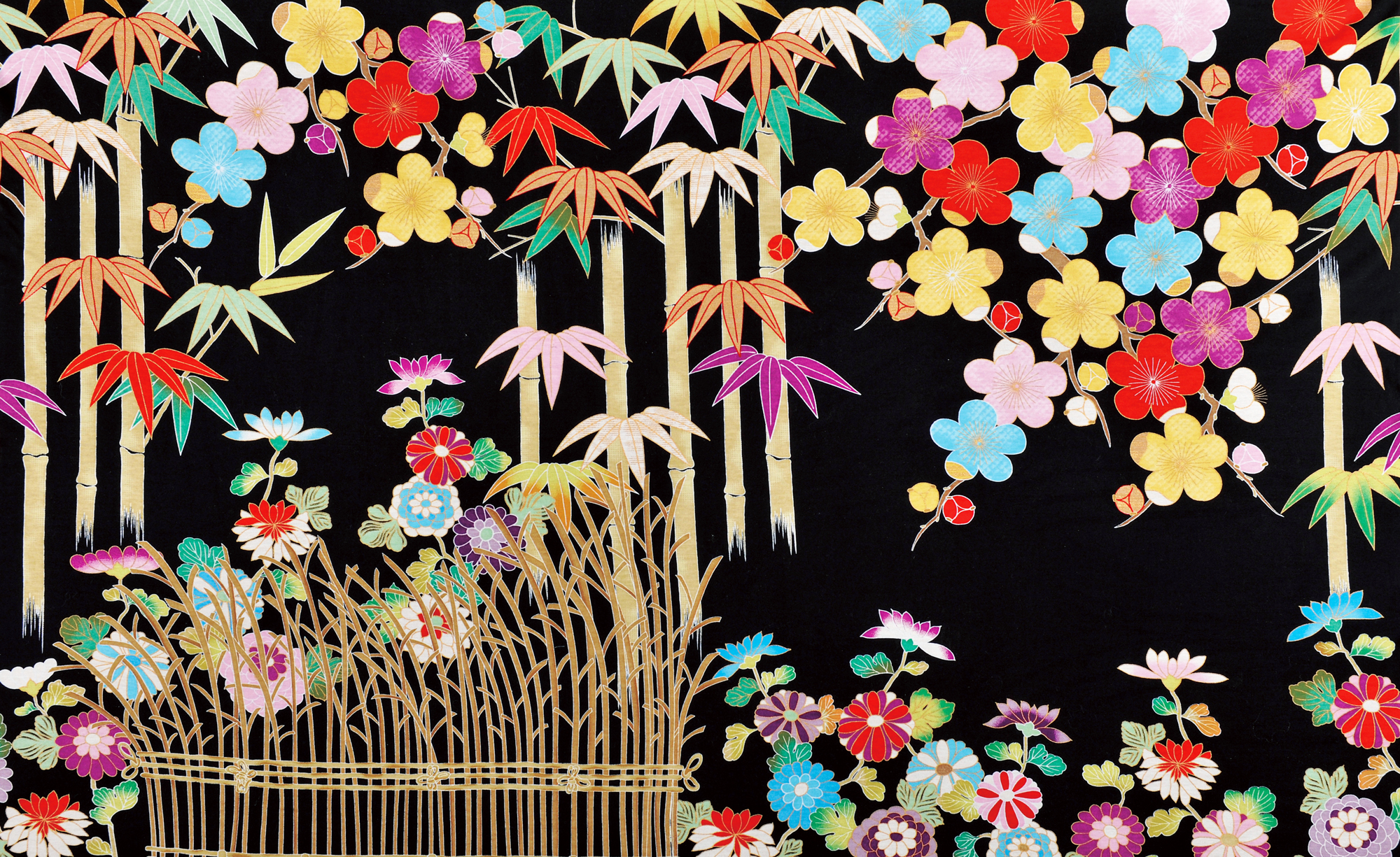 梅竹に菊籬