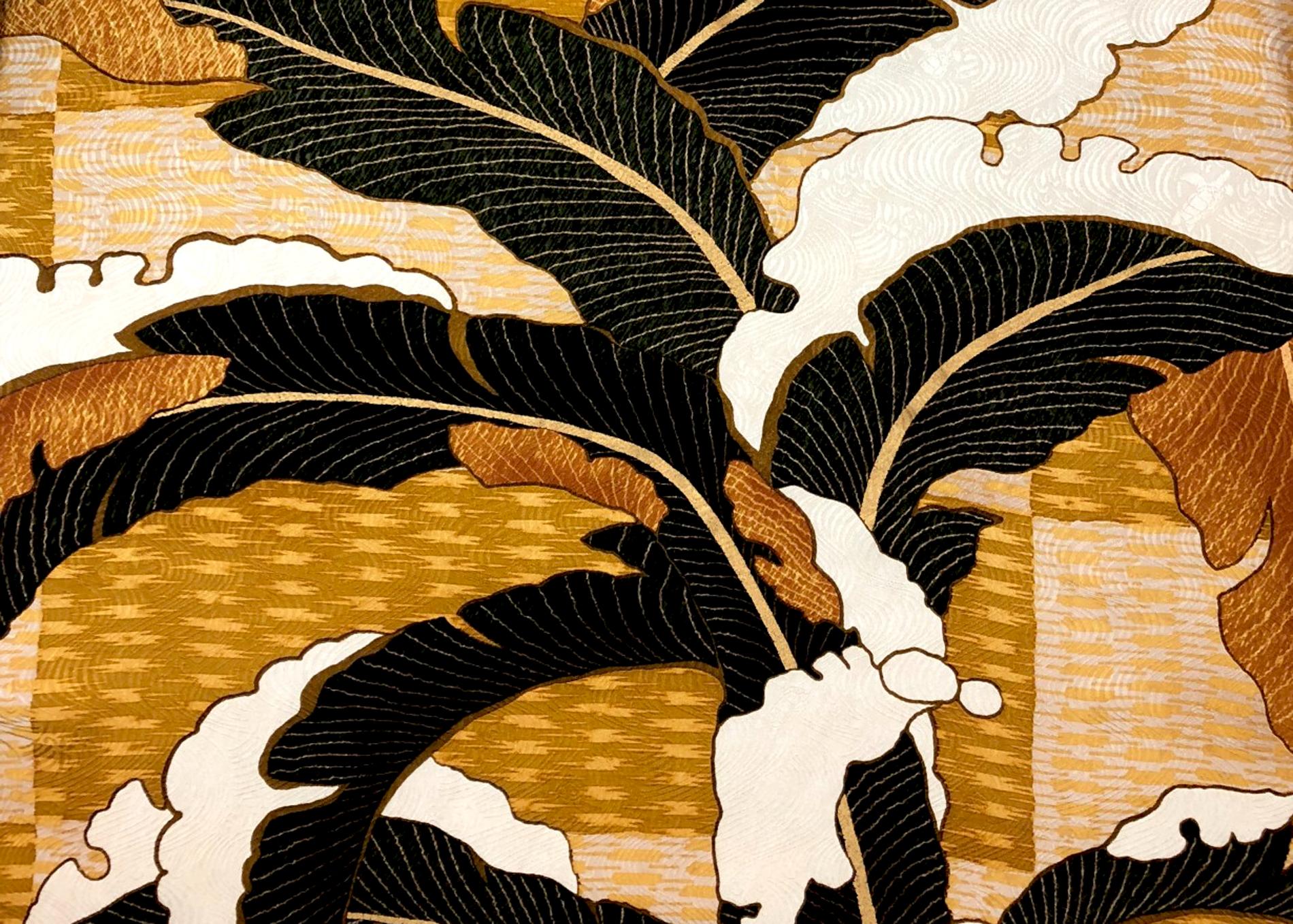 段片身替りに雪持芭蕉文縫箔
