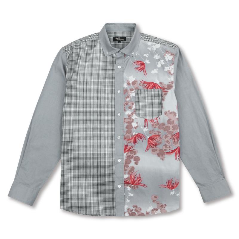 切替ボタンダウンシャツ<菊に常盤木>
