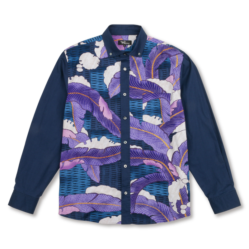 メンズボタンダウンシャツ<段片身替りに雪持芭蕉文縫箔>